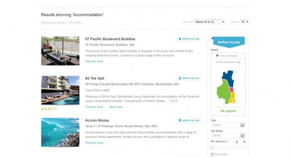 Sunshine Coast - Konsumenten Seite - Accommodation Suche