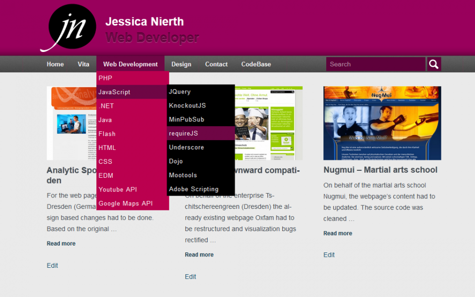 Jessica Nierth - Version 2.0 - Startseite